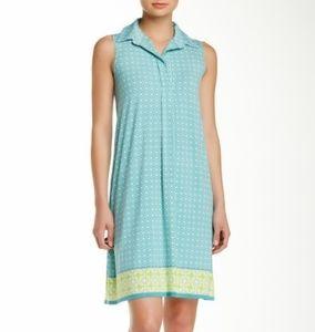 Max Studio Printed Sleeveless Shirt Dress